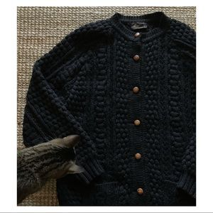 Vintage cable knit heavy weight cardigan
